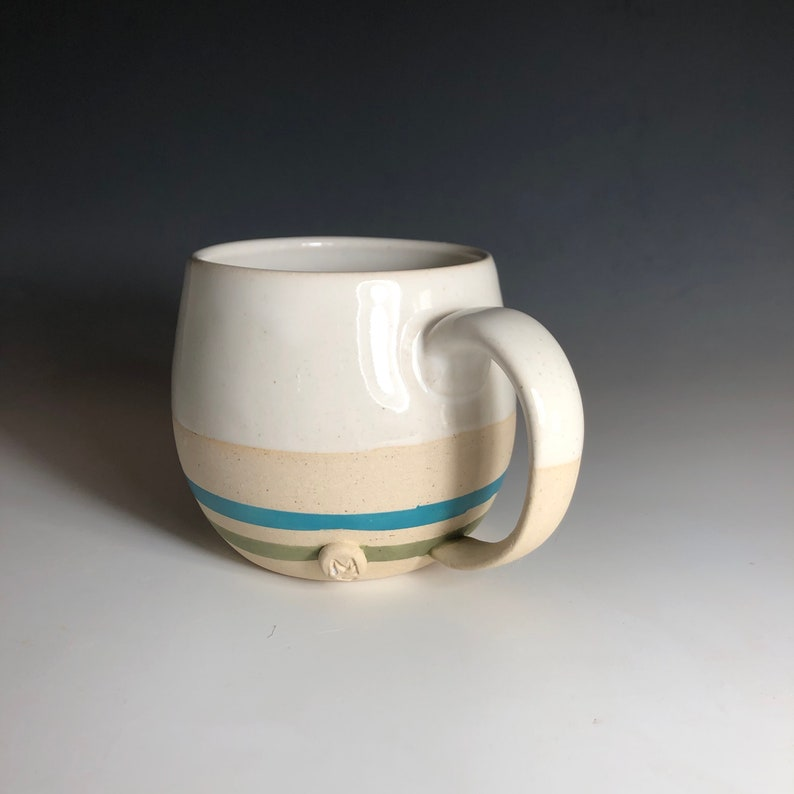 Blue Green Stripes Mug