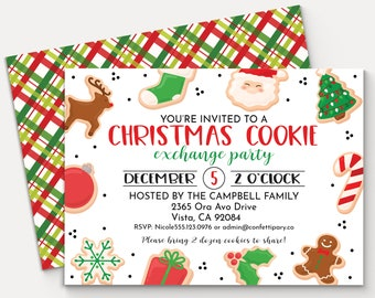 Christmas Cookie Exchange Invitation, Holiday Cookie Swap Invitation,  Cookie Decorating Party, Editable Invitation Template