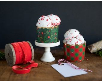 Buffalo Plaid and Gold Treat Cups  Merry Christmas Treat Cups  Treat Cups  Baking Cups  Christmas Treat Cups  Holiday Treat Cup