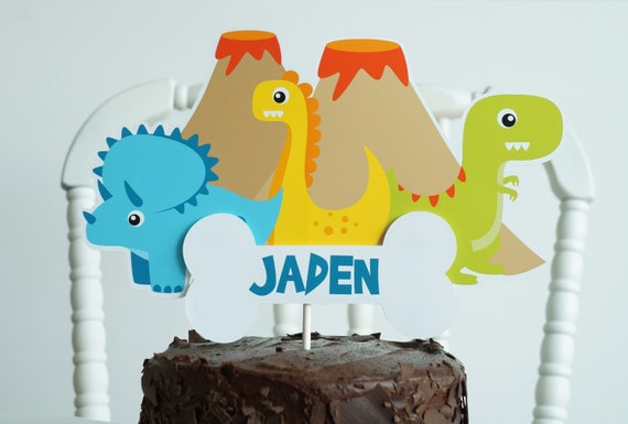 Wondrous Dinosaur Cake Topper Dinosaur Birthday Cake Topper Dino Etsy Personalised Birthday Cards Paralily Jamesorg