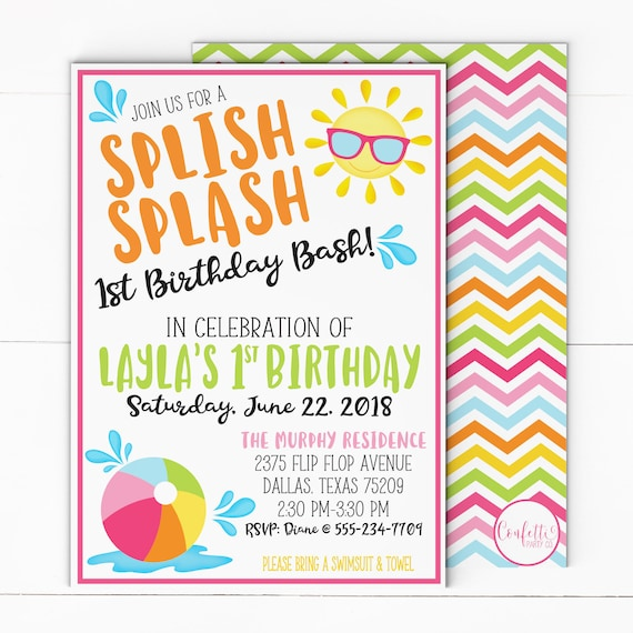 beach ball girl birthday invitation girl pool party invitation