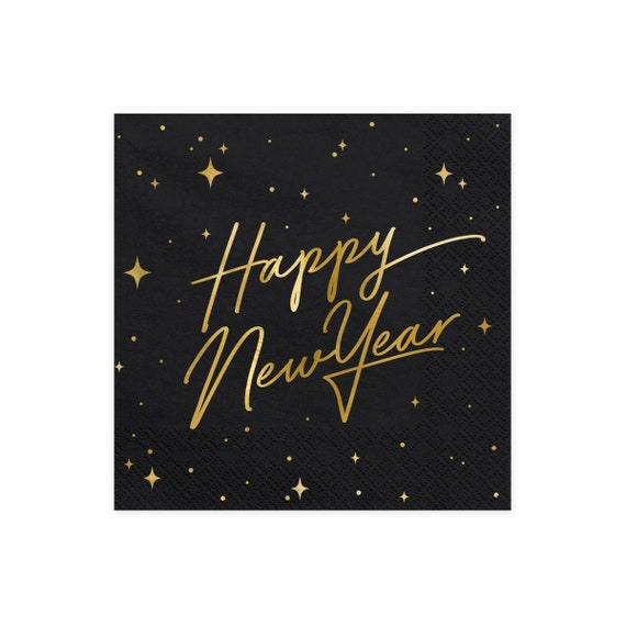 Black Napkins for New Year/'s Eve Party Black Happy New Year Napkins 20 Large Napkins NYE Party 2021 New Year/'s Eve Decorations