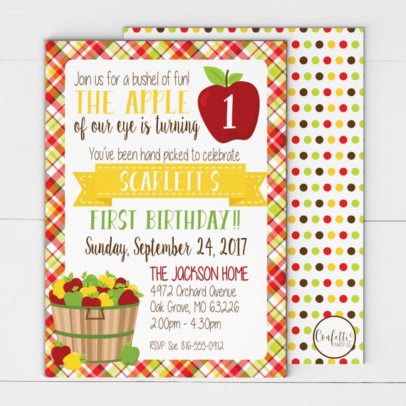 Apple Party Invitation Of Our Eye Birthday