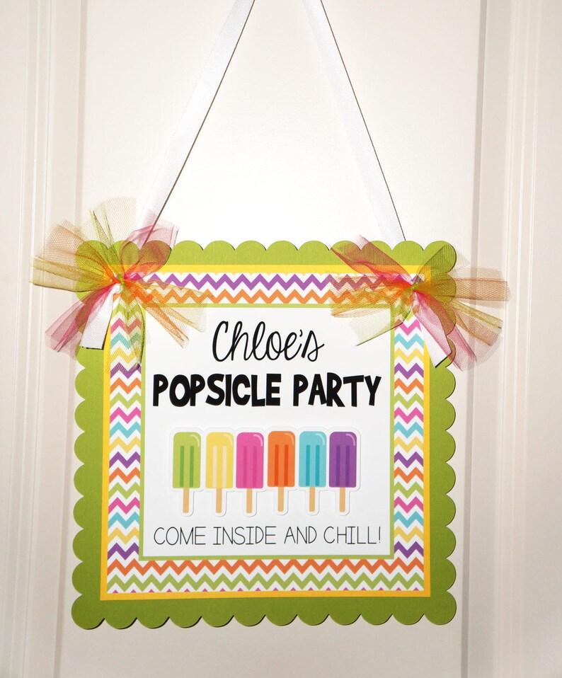 Pool Party Door Sign Chevron  Welcome Sign Swimming Party Popsicle Party Welcome Sign Popsicle Birthday Sign Popsicle Door Sign