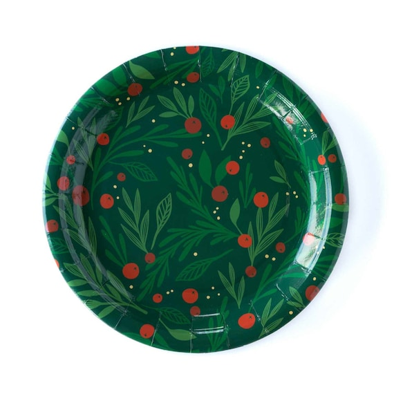 Set of 12 Plates Deck the Halls Red Christmas Party Plates Red Holiday Party Decor Christmas Paper Plates Red and Green Party Supplies