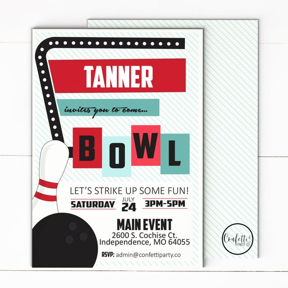 bowling birthday party invitation boy bowling party retro etsy