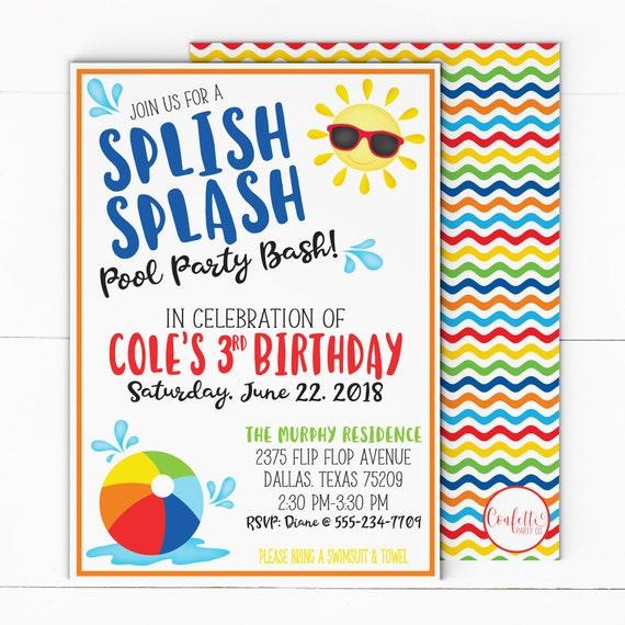 Beach Ball Birthday Invitation - Pool Party Invitation - Summer Birthday Invite - Beach Ball 1st Birthday - Beach Ball Party - Splish Splash