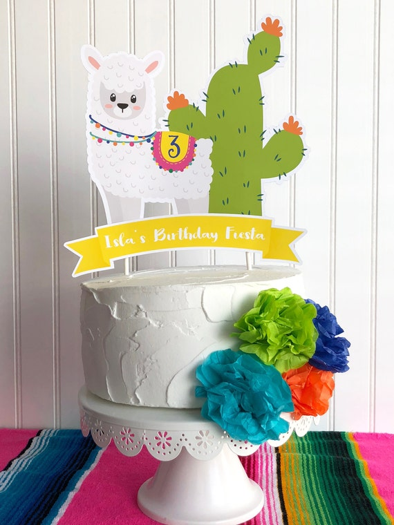 Admirable Llama Cake Topper Fiesta Birthday Party Cake Topper Etsy Personalised Birthday Cards Beptaeletsinfo