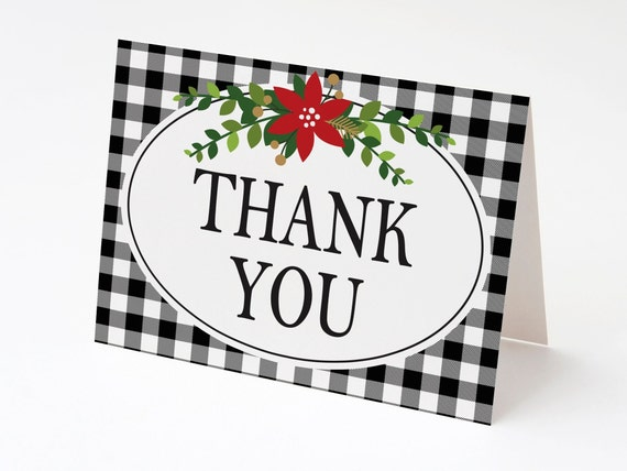 Black And White Buffalo Check Christmas Thank You Cards Blank Etsy