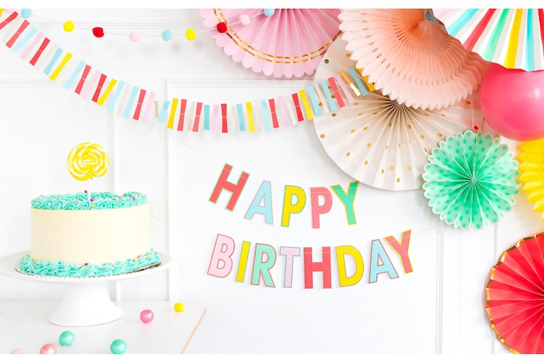 Hip Hip Hooray Birthday Cake Decor Rainbow Pom Pom Cake Topper Rainbow Party Pom Pom Cake Topper Circus Birthday Birthday Cake Topper