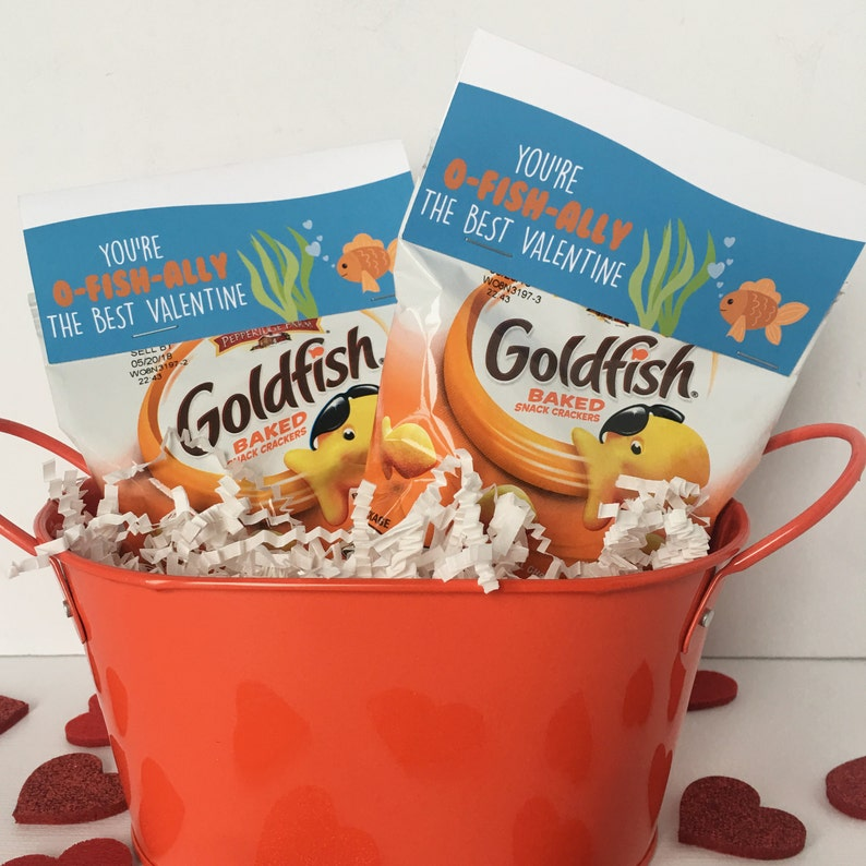 Fish Valentine Valentine/'s Day Classroom Valentine Valentine Bag Topper Instant Download Goldfish Valentine Card