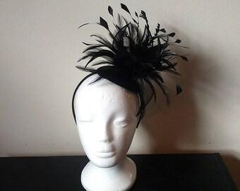 Black feather fascinator, black wedding fascinator, derby fascinator, large fascinator, fascinator with feathers, flower fascinator