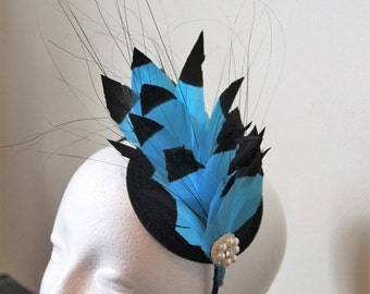 Turquoise blue and black feather fascinator, wedding fascinator, fascinator with feathers, party fascinator, races fascinator