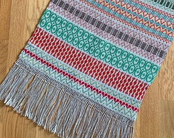 Vintage Swedish Handwoven Rose Path Wall Hanging With Fringe Scandinavian Wool Linen Tapestry Traditional Folklore