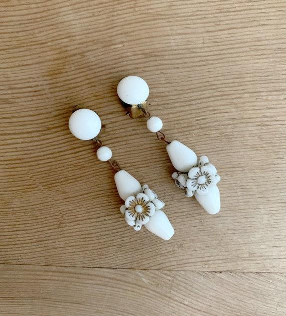 White 1930's Dangle Clip-On Earrings  Beaded White