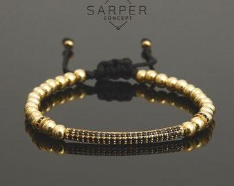 Gold beaded bracelet, mens bracelet, gift for him, birthday gift, mens gift, gemstone bracelet, bracelet for men, initial bracelet bangle