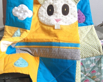 Rabbit baby quilt - Baby blanket - Playmat - Baby gift - Baby shower