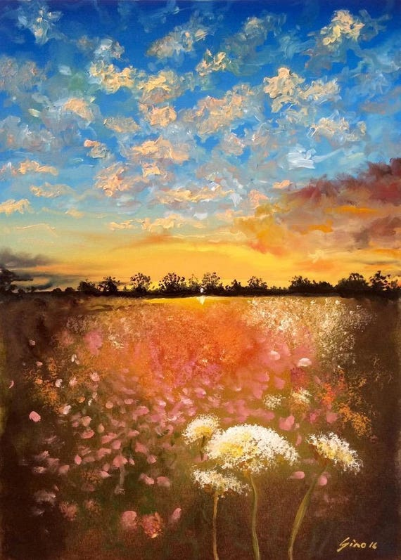 Limited Edition Dandelion Meadow A3 Print Of Original Painting Landscape Sky