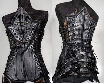 Black and Bone by SceneSick Custom Rubber Stage Textured bandage Flex Gothic Metal Mini Skirt