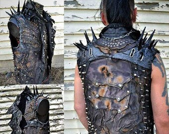 The SCUM DOG SceneSick Post Apocalyptic Heavy Metal Wasteland Horror Punk Stage Wear Club Biker Sculpted Spiked Custom Vest