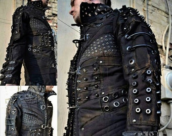 84e545c07f0 The Machinist SceneSick Post Apocalyptic wasteland Dystopian Blade Runner  Goth Club Cyberpunk Rivethead Cosplay Biker Custom Jacket