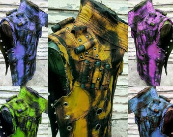 Slime Camo SceneSick Neon Technicolor Tactical Punk Post Apocalyptic Stage Wear Hand Painted OOAK Cyberpunk  Club Militant Futuristic Vest