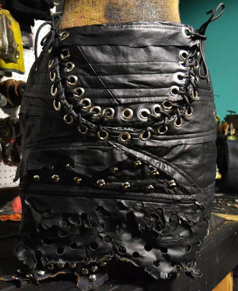 Rigor Mortis SceneSick Custom Leather Mini Stage Wear Club Biker Wasteland  Post Apocalyptic Horror Designer Skirt