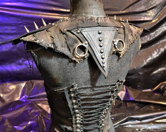 The Banshee SceneSick Stage Wear Gothic Post Apocalyptic Biker Club Spiked Warrior Leather Heavy Metal Rock Bodice