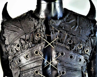 The Imp SceneSick Stage Wear Post Apocalyptic Black Metal Faux leather Gothic Clubwear Hand Painted Horn Cosplay Vest