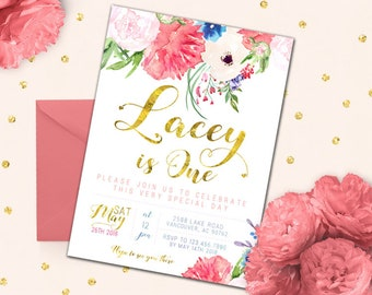 pink and gold first birthday invitation girl first birthday etsy