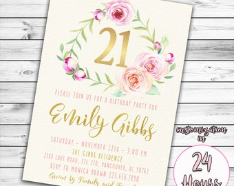 21st Birthday Invitation Pink And Gold 16th 30th Floral Twenty One