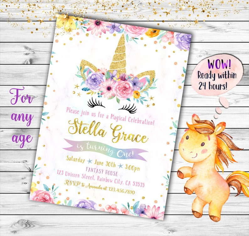Unicorn Birthday Invitation First
