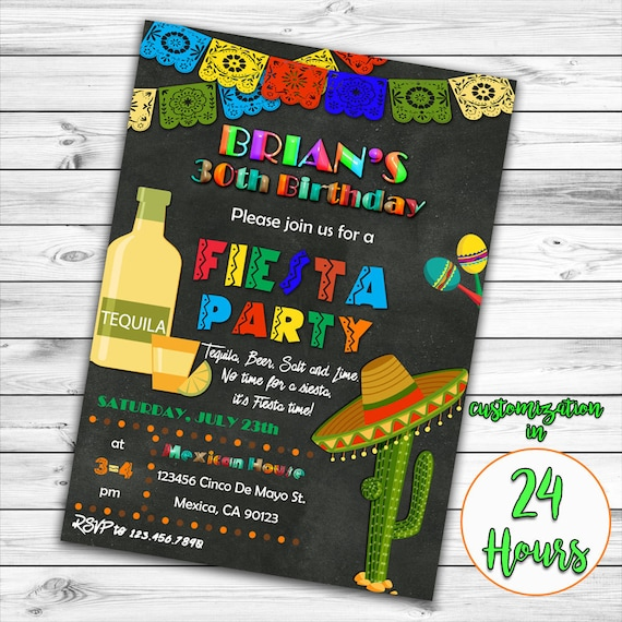 Fiesta Birthday Invitation 30th 21st 50th Mexican Party