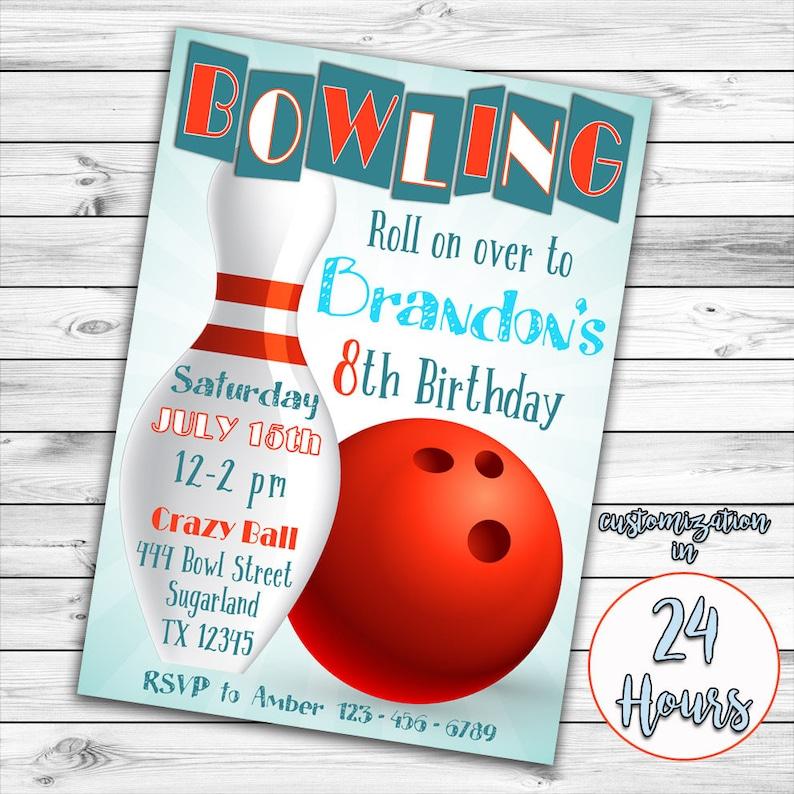 Bowling Invitation Bowling Birthday Invitation Bowling Party image 0
