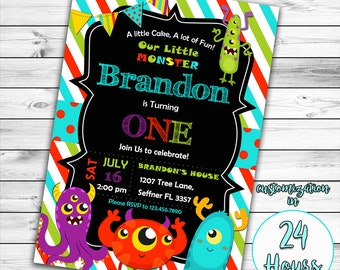 Little Monster Birthday Invitation, Monster Birthday Invitation, Monster Invitation, Monster Birthday Party, Monster Birthday, Printable