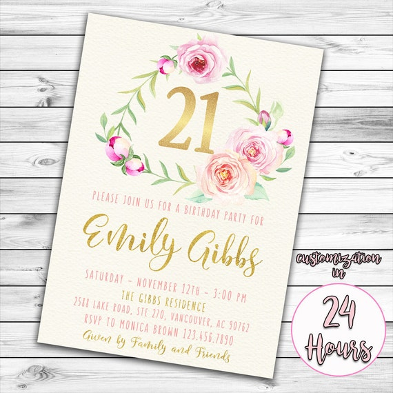 21st Birthday Invitation Pink And Gold