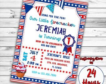 4th of July Invitation, First birthday Invitation, Patriotic First Birthday invitation, Red white and blue, Fourth of July Birthday Invite