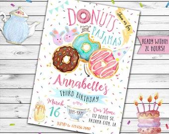 Donuts and Pajamas Birthday Invitation, Donuts and Pajamas Invitation, Donuts Invitation, Breakfast Invitation, Sleepover Party, Slumber, Pj