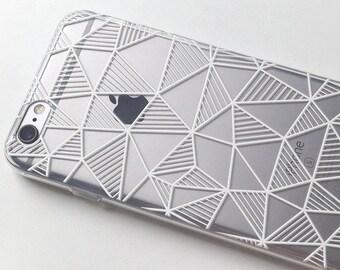 Geometric iPhone 7 Case iPhone 6 Case iPhone X Case iPhone 7 Plus Case iPhone 6 Plus Case iPhone 6s Case  iPhone 6s Plus Case Clear Grid