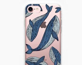 Whale iPhone Case iPhone 7 Case iPhone 7 Plus Case iPhone 6 Plus Case iPhone 6 Case iPhone 5s Case iPhone 8 Plus Case Whales Sea Blue