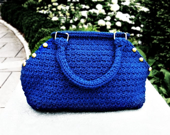 Navy Blue Crocheted Hexagon Bag | Nautical top handle purse with gold buttons