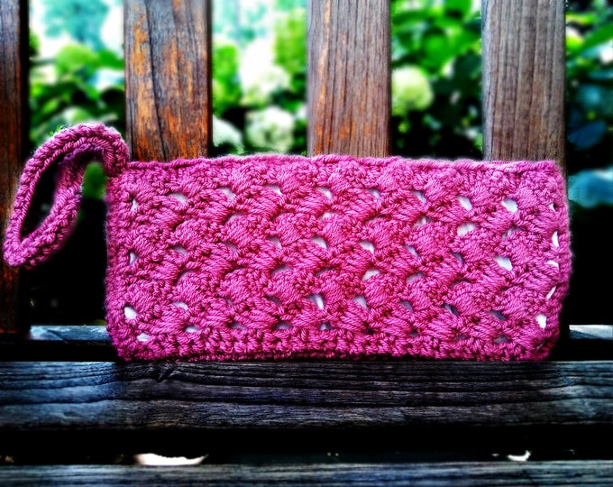 Pink Rose Clutch | Small handmade wristlet with crochet zigzag design