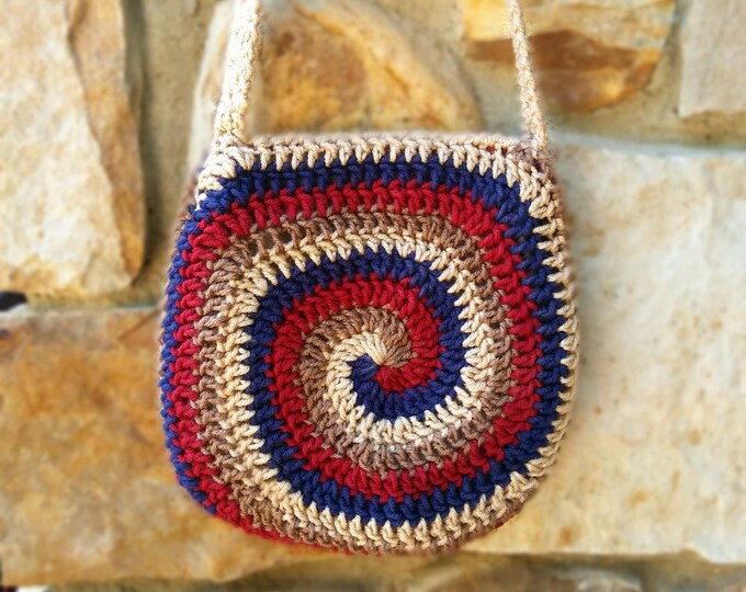 Spiral Crossbody Purse in red, blue, tan, & gold | Small crochet bag with knit lining