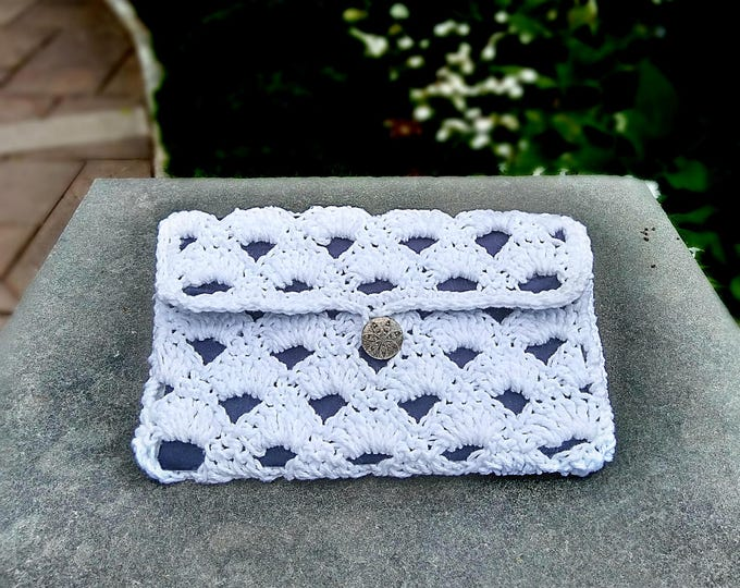Crochet Shell Day Clutch | Small white flap bag with silver sand dollar button, 100% cotton yarn