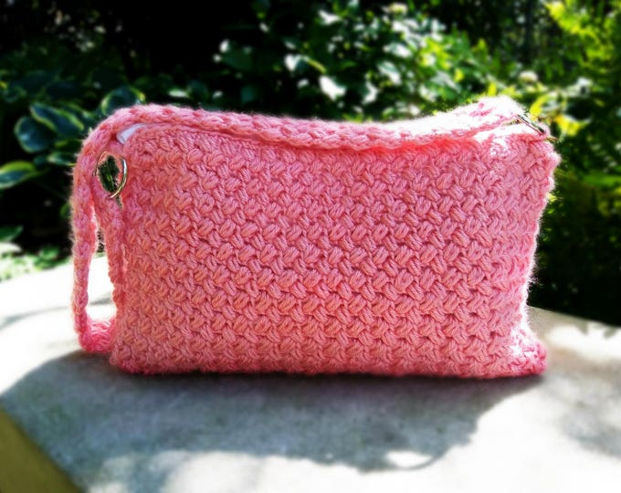 Coral Crochet Purse | Girly pink shoulder bag, the perfect feminine accessory