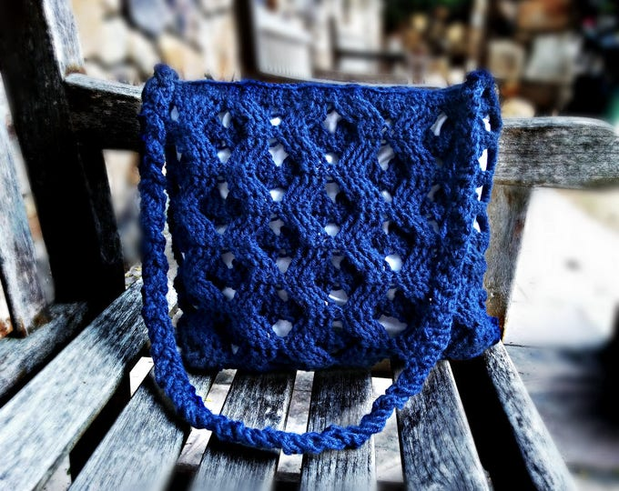 Crochet Butterfly Bag | Square cross-body bag with three-dimensional design in dark blue