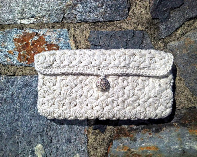 Ivory Floral Clutch | small rustic bag for casual and formal occasions - 100% cotton yarn