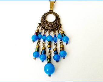 Necklace pearls blue Oriental tones style glass