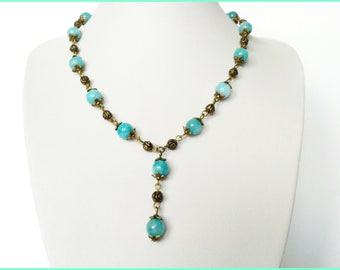 Necklace + earrings Aqua Jade beads bronze adjustable metal