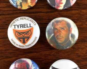 Blade Runner ~ More Human Than Human 1' Pin Back and Magnet Set of 6
